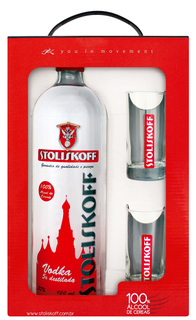 Vodka Stoliskoff Cereais 950 ml com 02 Copos (Kits)