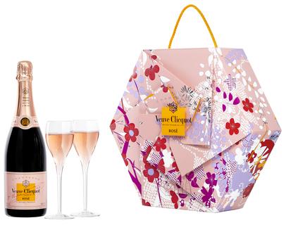 Champagne Veuve Clicquot Rose Shakkei Pack 750 ml com 2 taças (Kits)