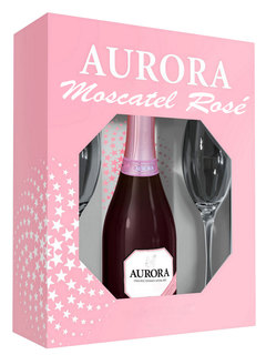 Espumante Aurora Moscatel Rose 750 ml + 2 Taças (kit)