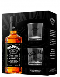 Kit Whiskey Jack Daniels 1 L Pack com 02 Copos de Whiskey Personalizados