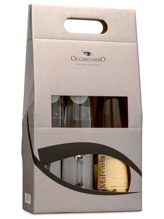 Vinho Occhio Nero Malvasia Dolce D.O.C. 750 ml com 02 Taças (Kits)