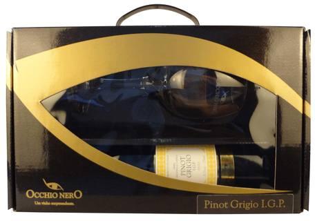 Vinho Occhio Nero Linea Classici Pinot Grigio I.G.P. 750ml com 01 Taça (Kits)