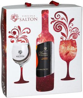 Vinho Salton Classic Cabernet Sauvignon Com 02 Taças (Kits)