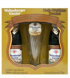 Cerveja Weltenburger Kloster Dunkel 500ml 02unids. com 1 Copo (Kits)