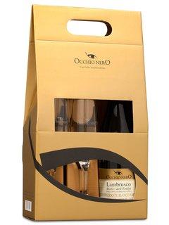 Vinho Lambrusco Occhio Nero Bianco dell'Emilia 750 ml com 02 Taças (Kits)