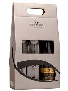Vinho Lambrusco Occhio Nero Rosso dell'Emilia 750 ml com 02 Taças (Kits)