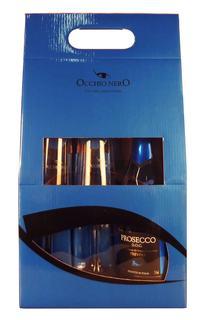 Prosecco Espumante Occhio Nero D.O.C. Brut 750 ml com 02 Taças (Kits)