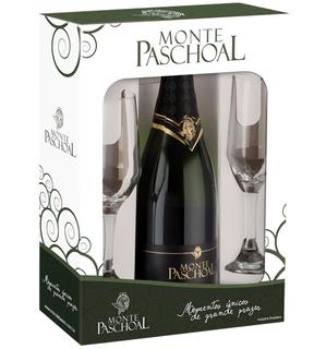 Prosecco Espumante Monte Paschoal  750 ml com 02 Taças (Kits)