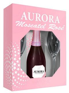 Espumante Aurora Moscatel Rose 750 ml com 2 Taças (Kits)