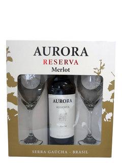 Vinho Aurora Reserva Merlot 750 ml com 2 Taças (Kits)
