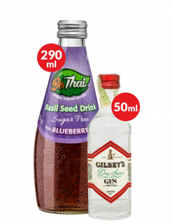 Combo Miniatura Gin Gilbeys 50ml + BeThai Basil Seed Drink Blueberry Sugar Free 290ml