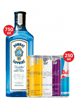 Combo Gin Bombay Sapphire + Mix Red Bull Sabores