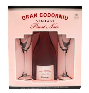 Espumante Cava Codorníu Pinot Noir Rose Brut 750 ml com 2 Taças (Kits)